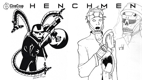 Henchman 78: Costume concepts for Henchmen 78 which also show that he steals items from other comic book heroes and villains.