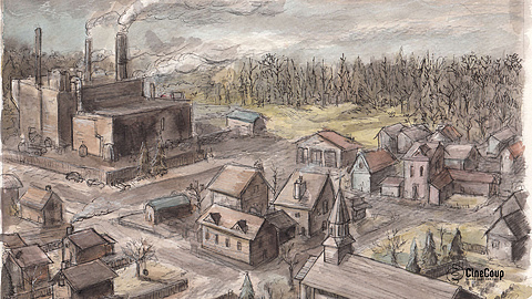 The Village of Val Jalbert: Population: 300  The grim, muted color pallet Leanna used isn't incidental. A village in the clutches of sickness and death doesn't see much sunshine. Original artwork by Leanna Teneycke