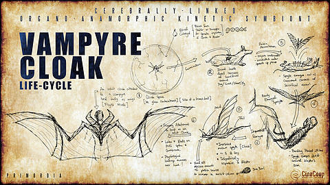 The Vampyre Cloak - A Life Cycle: Here we see how a Newborn Vampyre's Cloak starts as a spore and develops into a full blown adult Cloak  - a metamorphic symbiont that attaches and detaches from its host.  It is the Vampyre's living swiss army knife, able to transform rapidly from anything its master dictates telepathically: clothing, armor, weapons, and most importantly, wings for flight.  It is only the Vampyre's imagination that limits what it can do.  In the first year as a Newborn Vampyre, a mandatory one year training is required to master their Cloak and hone their skills to maximize their symbiont's full potential.