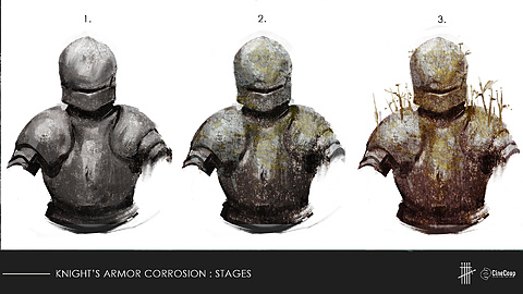 COSTUME FX Design: The longer the Knight stays in Faerie, the more his armour corrodes. Concept Art by Seb McKinnon.