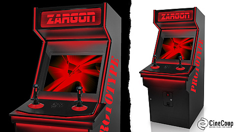 The ZARGON arcade game: The mysterious new arcade game, ZARGON. It has sleek black paneling with inlaid lighting for a sinister red glow. The custom-designed video game will also be available in real life as an app.