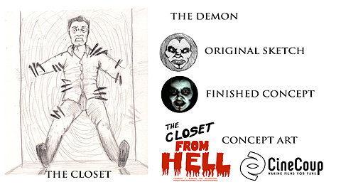 The Closet From Hell Concept Art: Original concept art from resident artist Hannah Myers includes the closet and first conceptualization of the demon and the hands. It also includes the title credits that were drawn for the short.