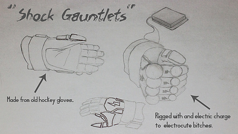 BLUEPRINT: Shock Gauntlets: Another rough sketch of Ben's weapons. Since he's a