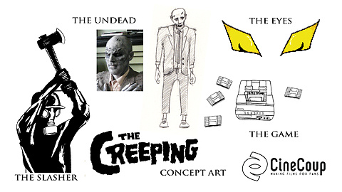 The Creeping Concept Art: Original concept art from resident artist Hannah Myers including the three villains of the short, The Undead, The Slasher and The Creeping, all  inspired from old video game characters and horror movies. Also included is the hand drawn title credit for The Creeping.