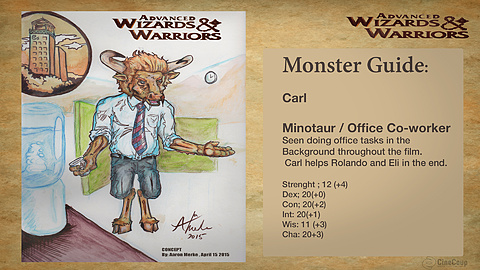 Monster Guide page 1: Carl/ the Citadel Office building. Ink and Water color.