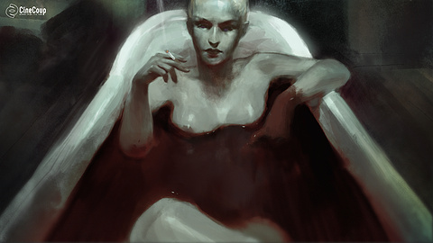 Blood Bath: LILITH relaxing in a bathtub of blood. Illustrated by STEVE HYUN JUN HONG (http://www.steve-hong.com/)