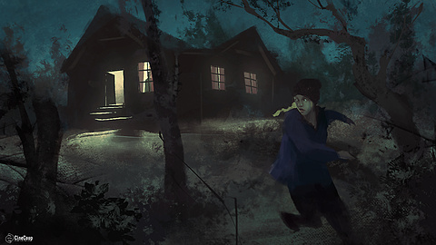 Into the Woods: LUCY escapes from LILITH's cabin. Illustrated by STEVE HYUN JUN HONG (http://www.steve-hong.com/)