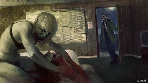 Guy Walks Into a Motel Room: ADAM walks in on LILITH as she's feeding. Illustrated by STEVE HYUN JUN HONG (http://www.steve-hong.com/)