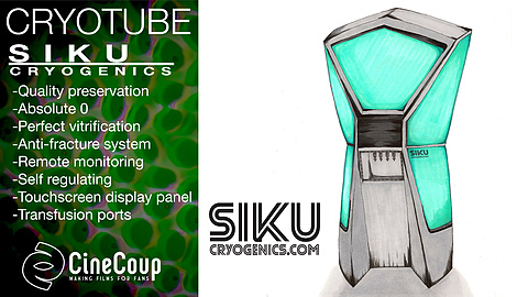 Siku Cryogenics' Cryotube: Dying? Do it with style in one of Siku Cryogenics' Cryotubes. Future technologies allow us to preserve our bodies while we await new cures. Reanimation at the swipe on Siku's beautiful touchscreen display. It's not just for playing Candy Crush.