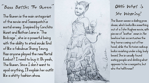 CONCEPT: The Queen: Here's a rough concept and description of our main baddie, The Queen herself! I don't really have to explain much here, you can just read the damn thing. Art by Kalli Lang.