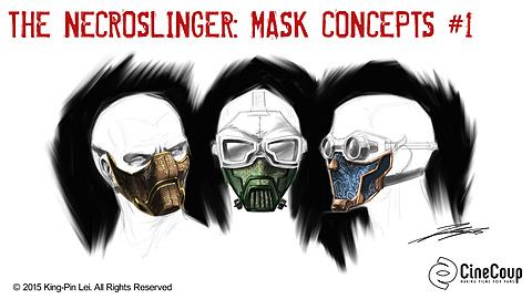 Necroslinger Masks I: Artist: John Lei.  Concept Art of Necroslinger Masks.