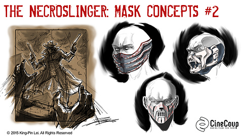 Necroslinger Masks II: Artist: John Lei.  Concept Art of The Necroslinger and Other Necroslinger Masks.