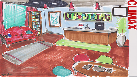 Life Pairing Office: Life Pairing office is cozy, relaxing, and loungey. Concept art by Bryan Yu.