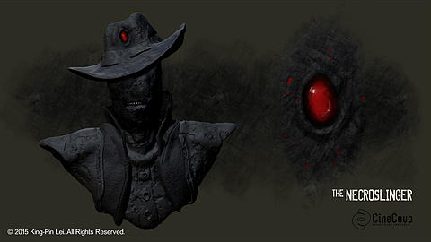 Shadow Gunslinger: Artist: Jean Apollinaro.  Concept Art of The Shadow Gunslinger, nemesis of The Necroslinger.