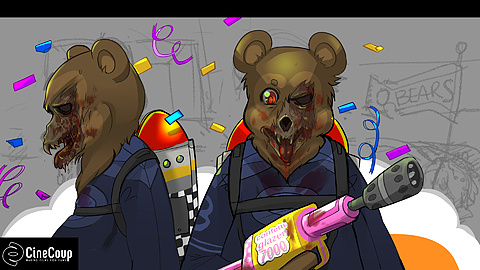 Infected High School Macscot: During a pep rally the local high school  mascot was attacked and infected. He  is armed with a confetti blaster & Jet pack.  Illustrated by Sarah Elecko