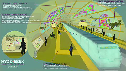 The next step in mass transit...: Mag-lev traincars.  Micro-drone CCTV systems.  Augmented Reality-sensitive companion display panels.  The technology exists, all that remains is implementation...  Original artwork and tech by Ivan Ignjatovic