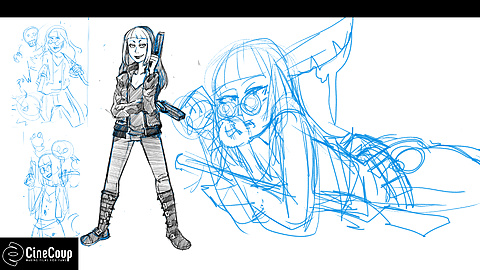 Zombie Slayer Lovina Xander: Costume concepts for Lovina Xander.  Illustrated by the talented Sarah Elecko