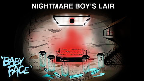 Nightmare Boy's Lair: Concept art for the villain's base of operations in Baby Face.