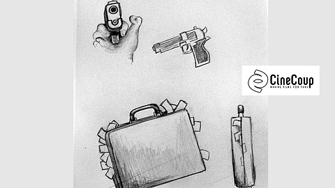 Guns and a Briefcase: What's a mob heist movie without  guns and a briefcase full o' money? (Image by Hillary Winter)