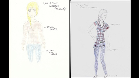Chris Costume Design: Here are costume designs for Chris, John's girlfriend in the movie. These are hand drawn by Trent Asherand Tiffany Leblanc