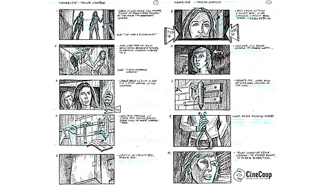 Reina Attacks! - Storyboard pt1: Selected shots from a key scene in Namas-DIE. Art by Dave Cullen.